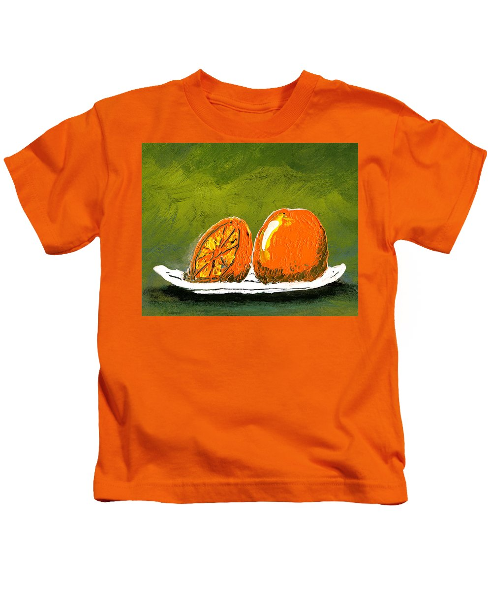Orange Kids T-Shirt featuring the painting 2 Oranges On A White Plate by Gary Henderson