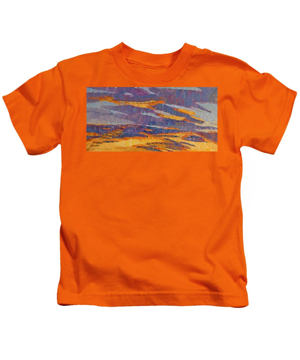 Sunset Kids T-Shirt featuring the painting Sunset On Paseo by Susan Tormoen