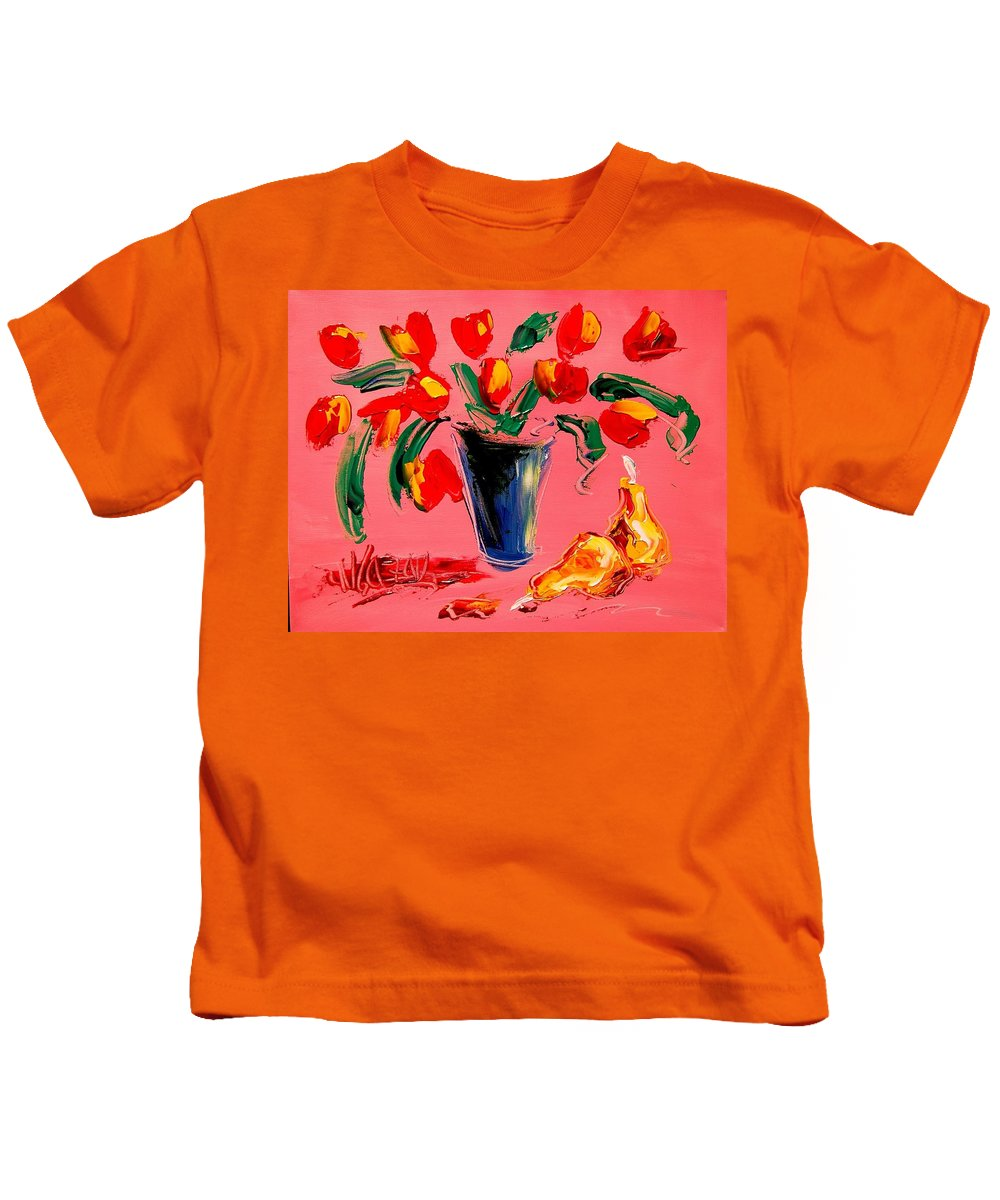 Red Poppies Kids T-Shirt featuring the painting Tulips by Mark Kazav