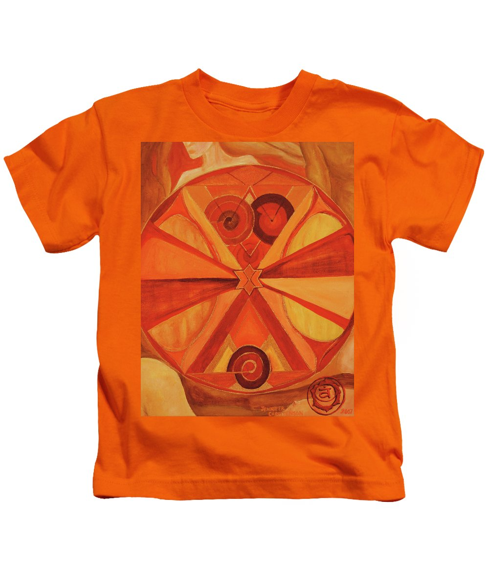 Mandala Kids T-Shirt featuring the painting 2nd Mandala - Sacral Chakra by Jennifer Christenson