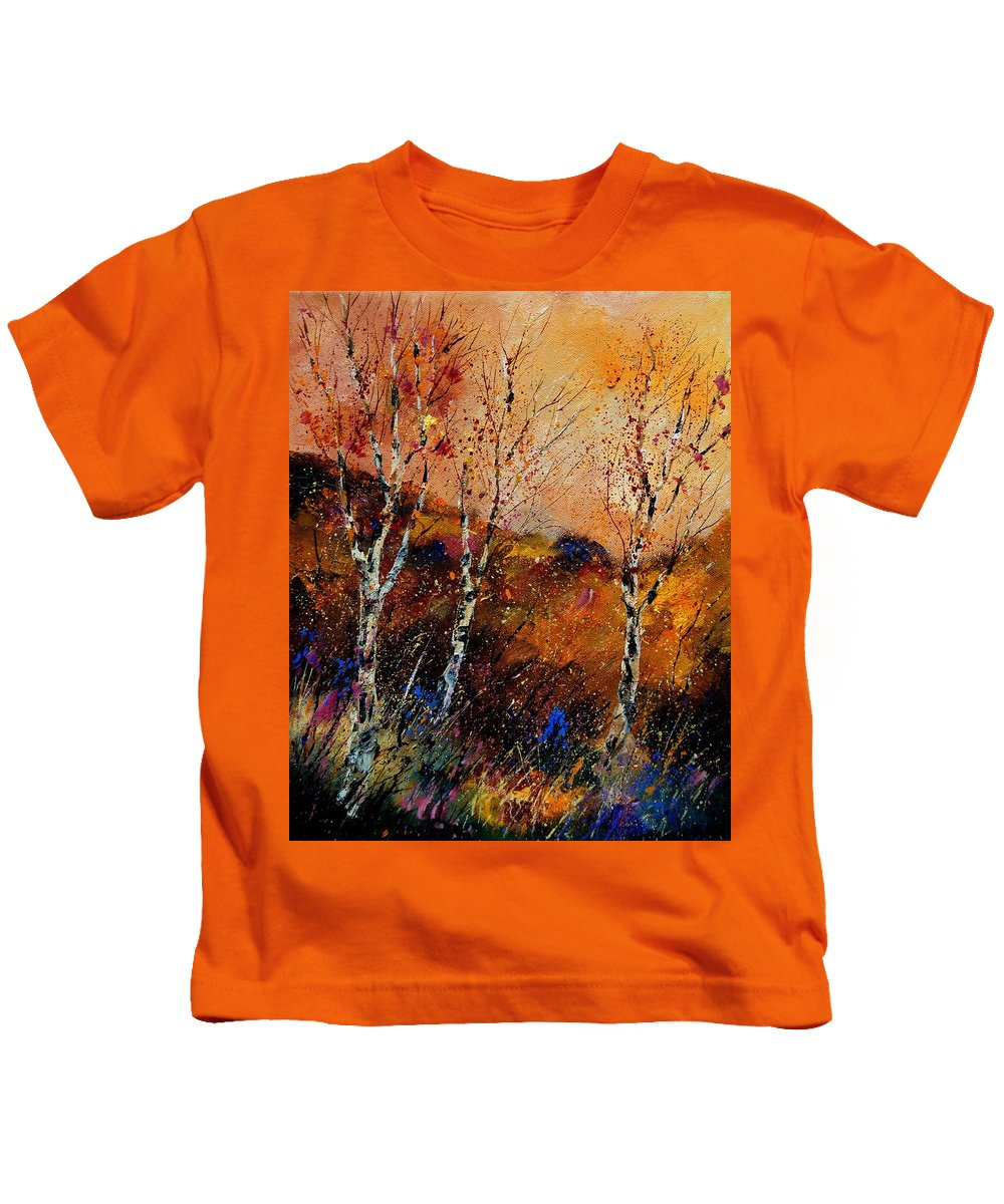 River Kids T-Shirt featuring the painting 3 Poplars by Pol Ledent