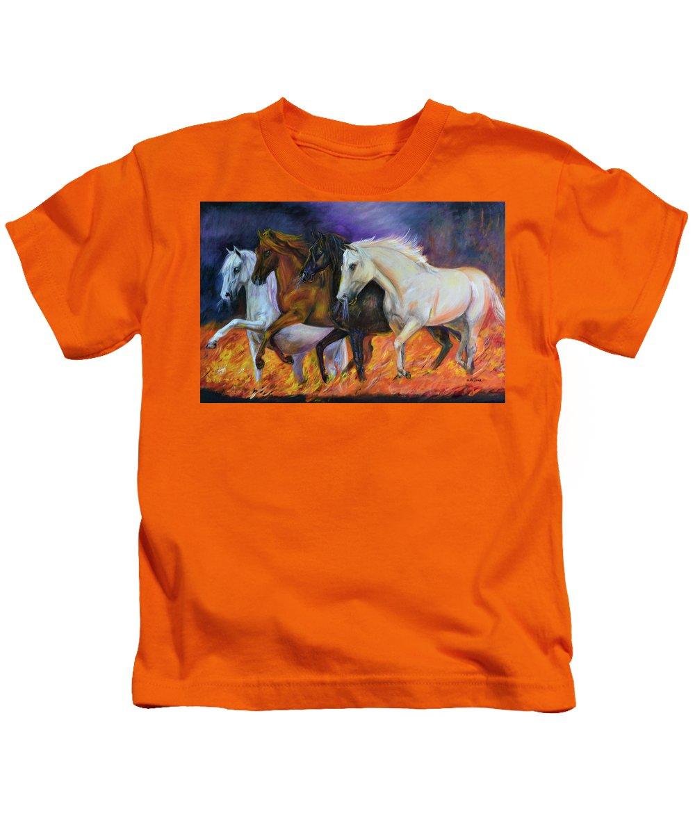 Horse Kids T-Shirt featuring the painting 4 Horses Of The Apocalypse by Olga Kaczmar