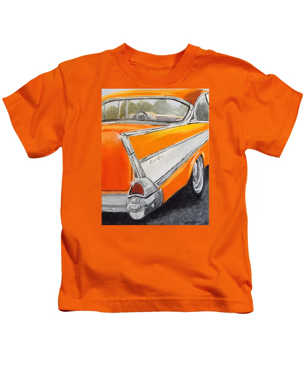Car Kids T-Shirt featuring the painting '57 Tangerine by Pamela Anderson