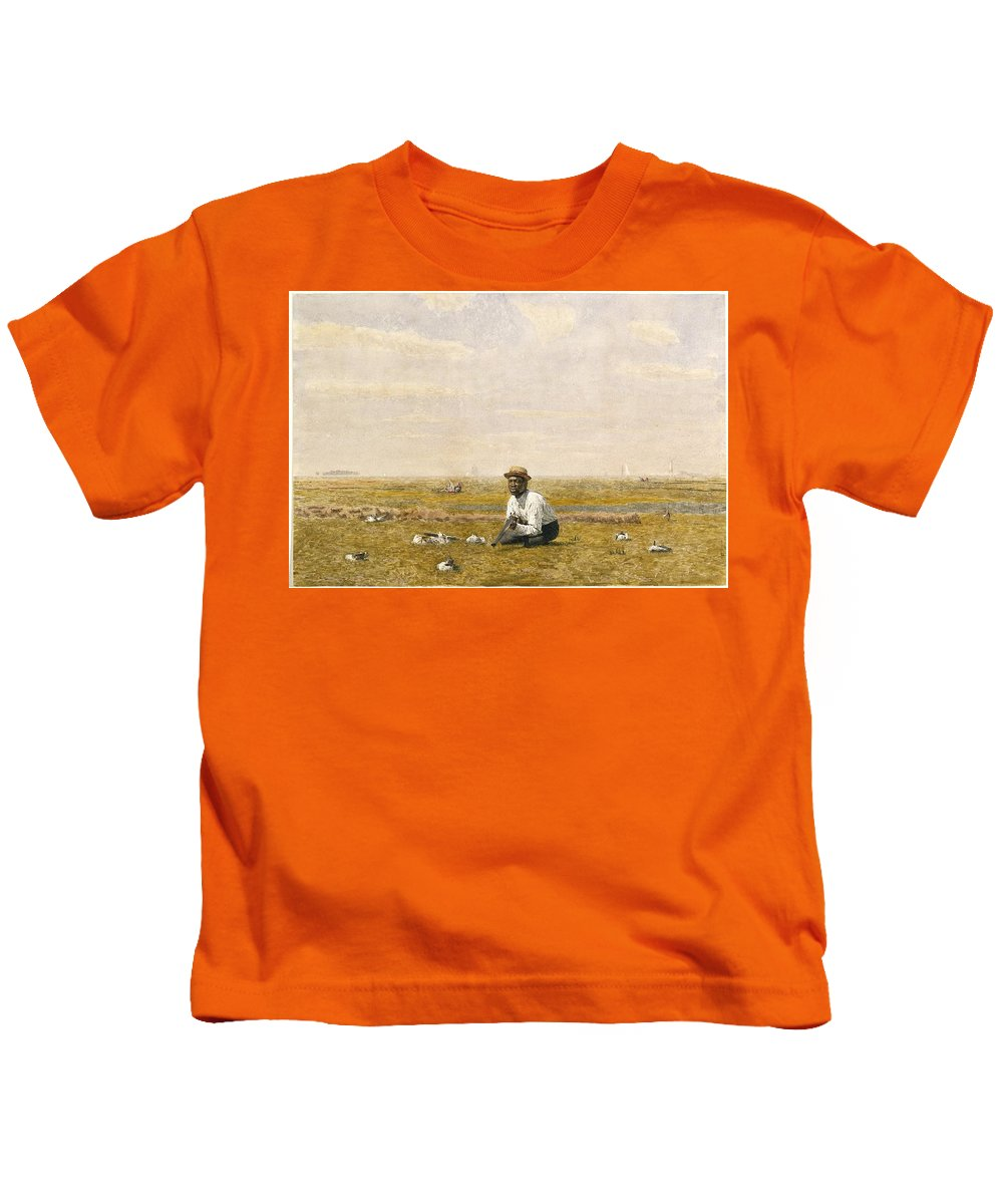Thomas Eakins (american Kids T-Shirt featuring the painting Whistling For Plover by Thomas Eakins