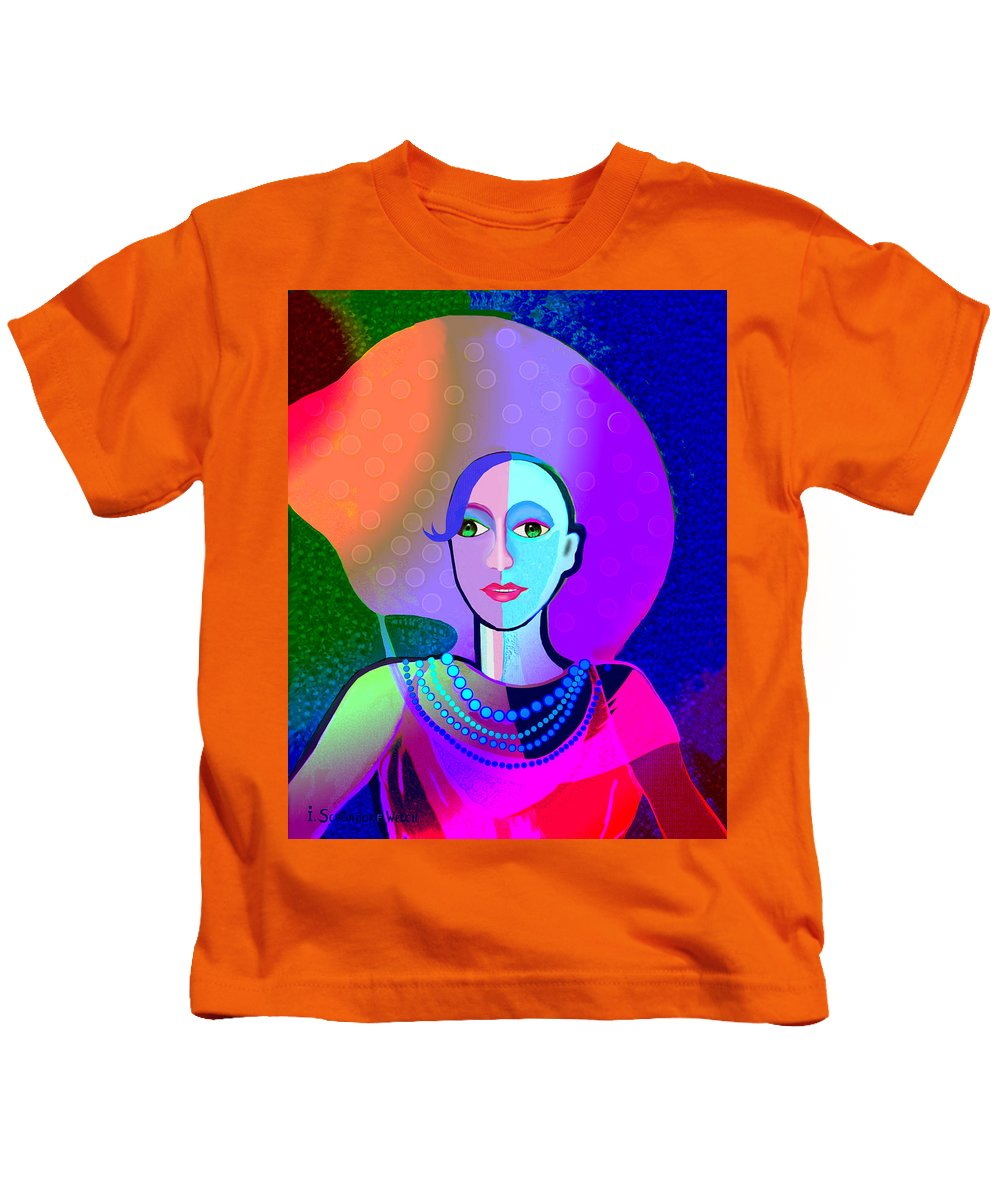 646 Ice And Passion A Kids T-Shirt featuring the painting 646 - Ice And Passion A by Irmgard Schoendorf Welch