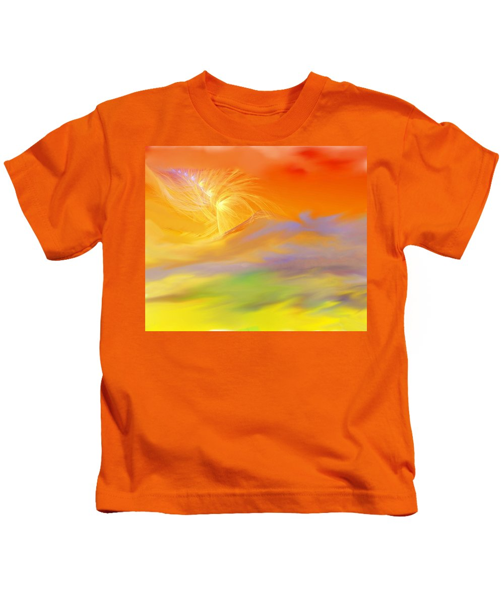 Fine Art Kids T-Shirt featuring the digital art A Band Of Angels Coming After Me by David Lane