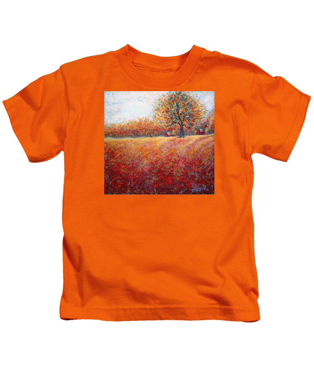 Autumn Landscape Kids T-Shirt featuring the painting A Beautiful Autumn Day by Natalie Holland