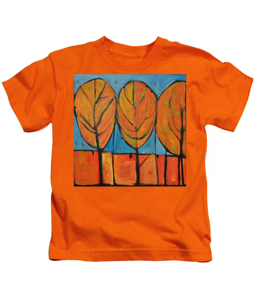 Fall Kids T-Shirt featuring the painting A Change Of Seasons by Tim Nyberg
