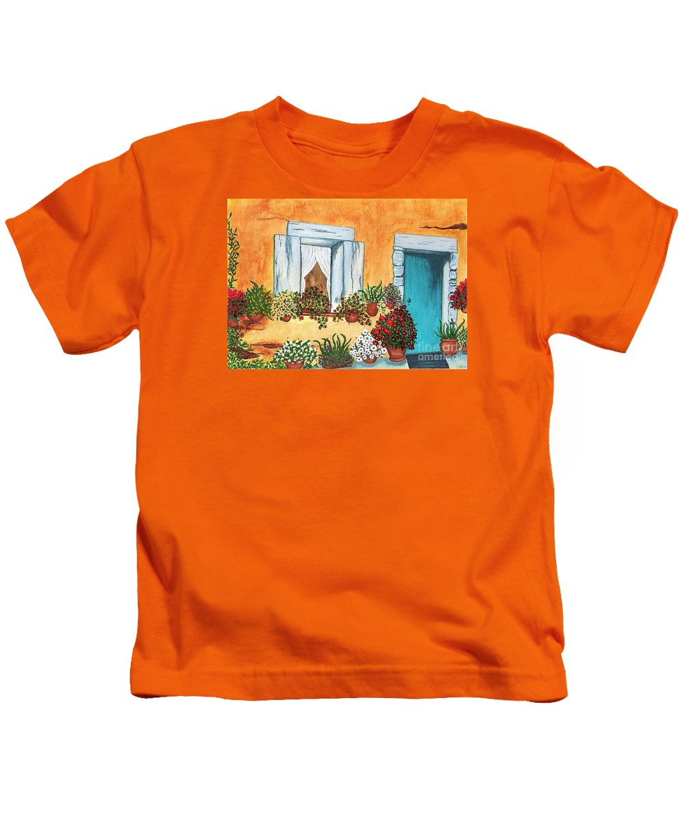 Watercolor Painting Kids T-Shirt featuring the painting A Cottage In The Village by Patricia Griffin Brett