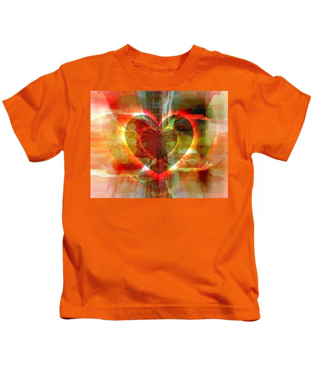 Fania Simon Kids T-Shirt featuring the digital art A Forgiving Heart by Fania Simon