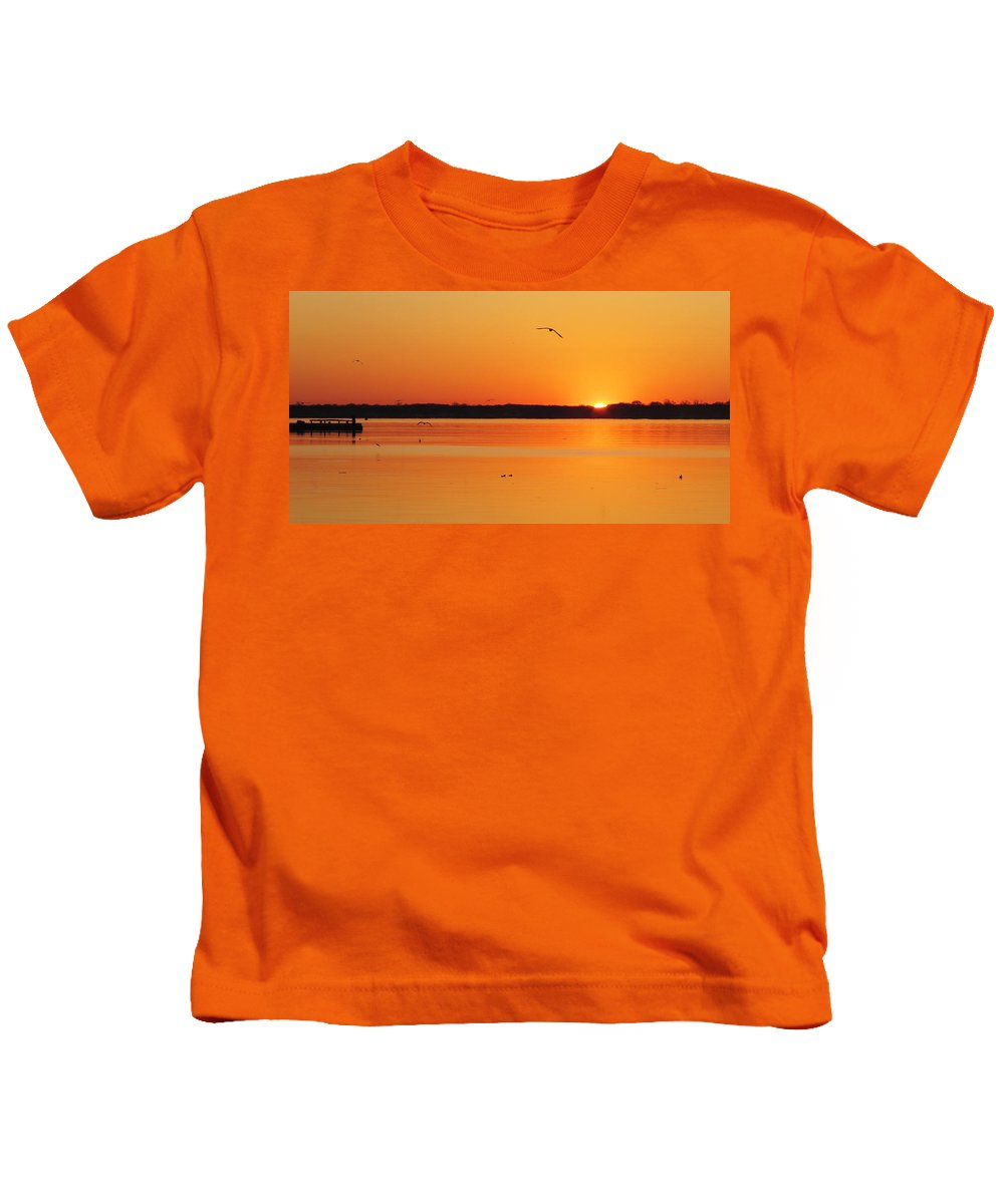 Sunrise Kids T-Shirt featuring the photograph A Gull's View by Bruce Burk