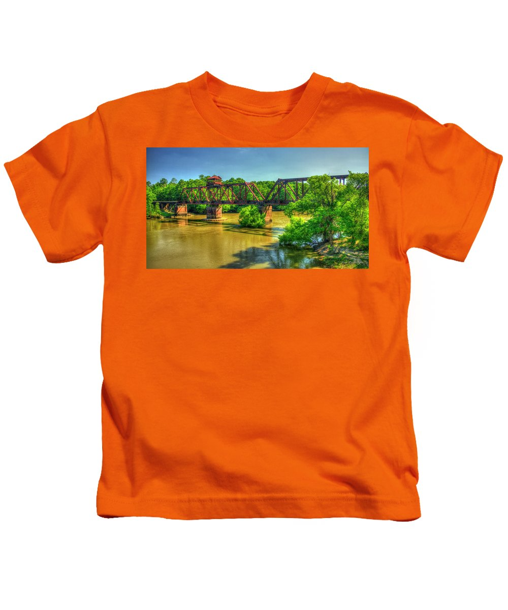 Reid Callaway A Time Gone By Kids T-Shirt featuring the photograph A Time Gone By Railroad Bridge Lumber City Georgia by Reid Callaway