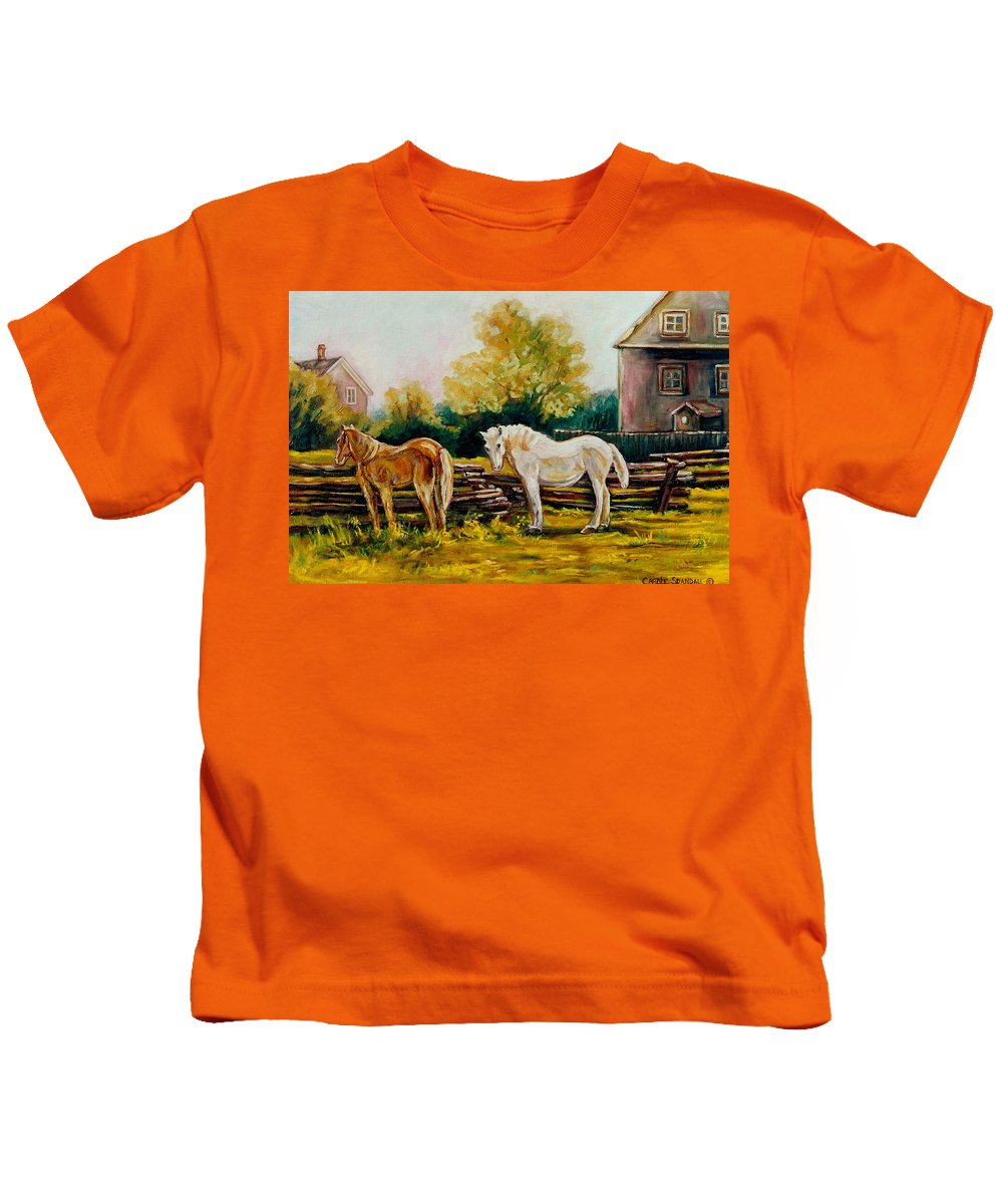 Horses Kids T-Shirt featuring the painting A Wonderful Life by Carole Spandau