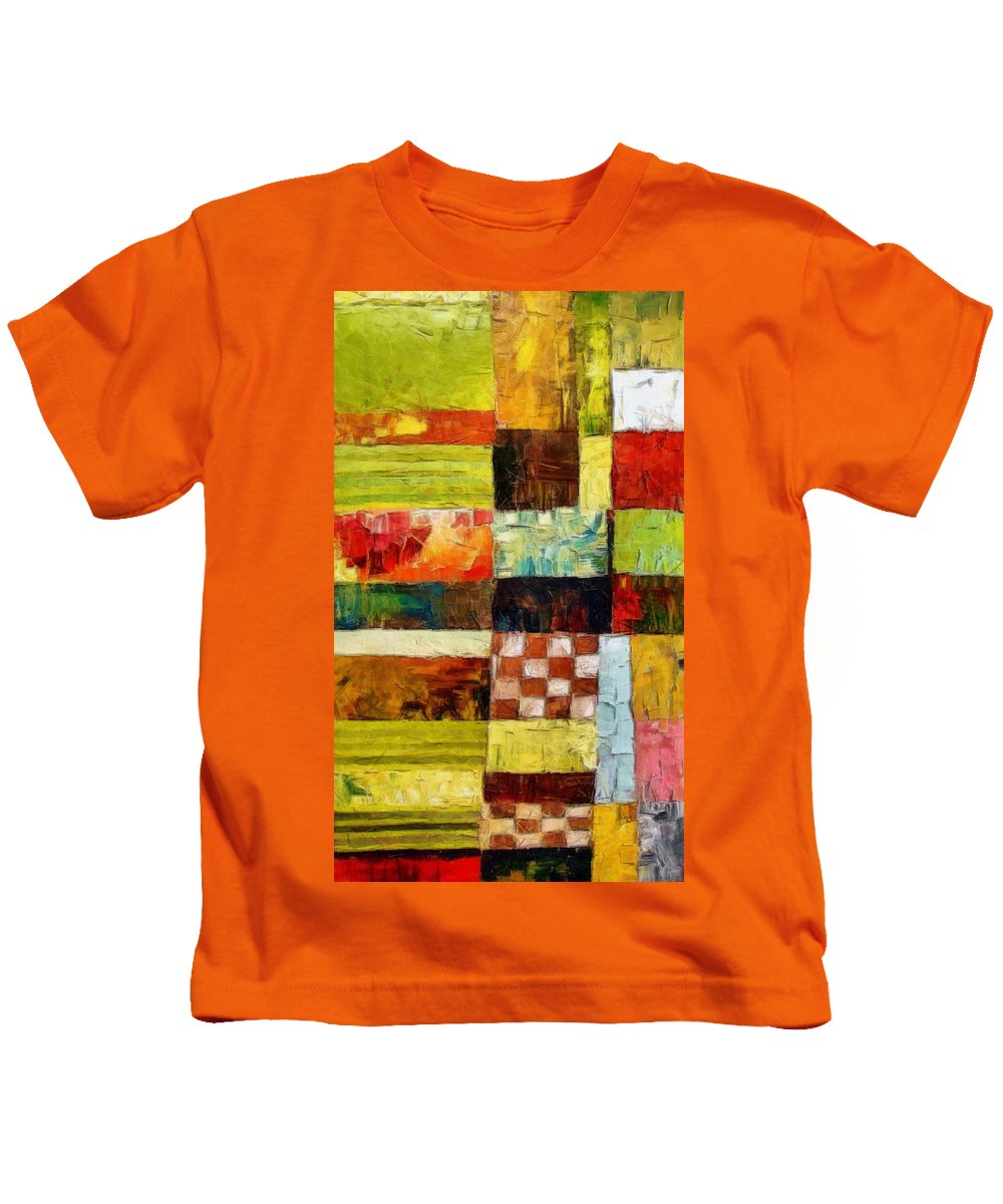 Patchwork Kids T-Shirt featuring the painting Abstract Color Study With Checkerboard And Stripes by Michelle Calkins