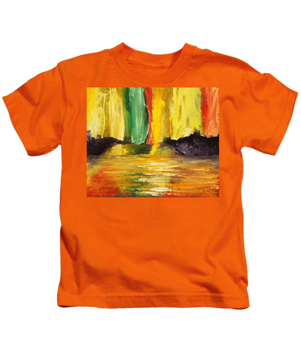 Abstract Kids T-Shirt featuring the painting Abundance by Angel Reyes