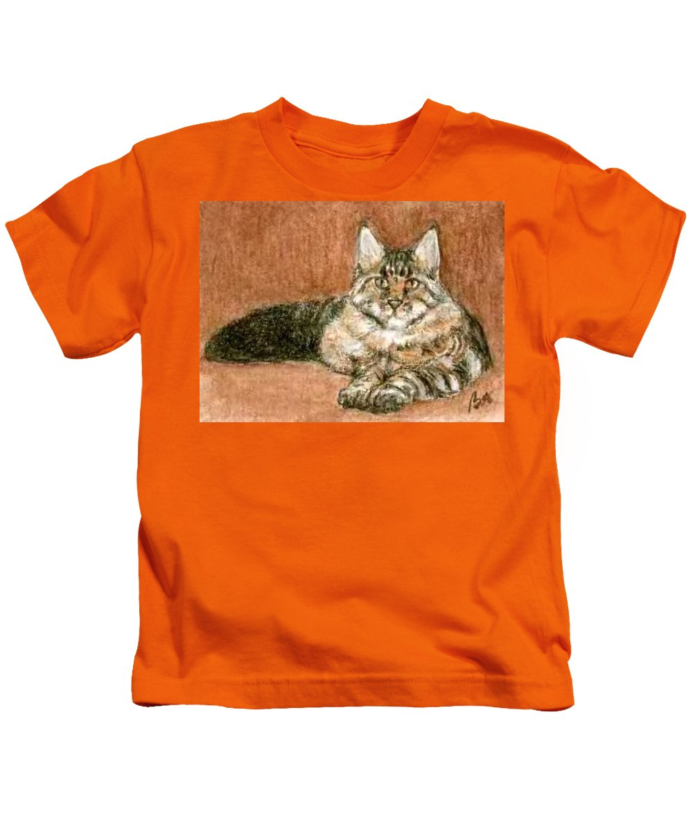 Aceo Cat Maine Coon Bruce Lennon Art Kids T-Shirt featuring the painting Aceo Maine Coon Cat by Bruce Lennon
