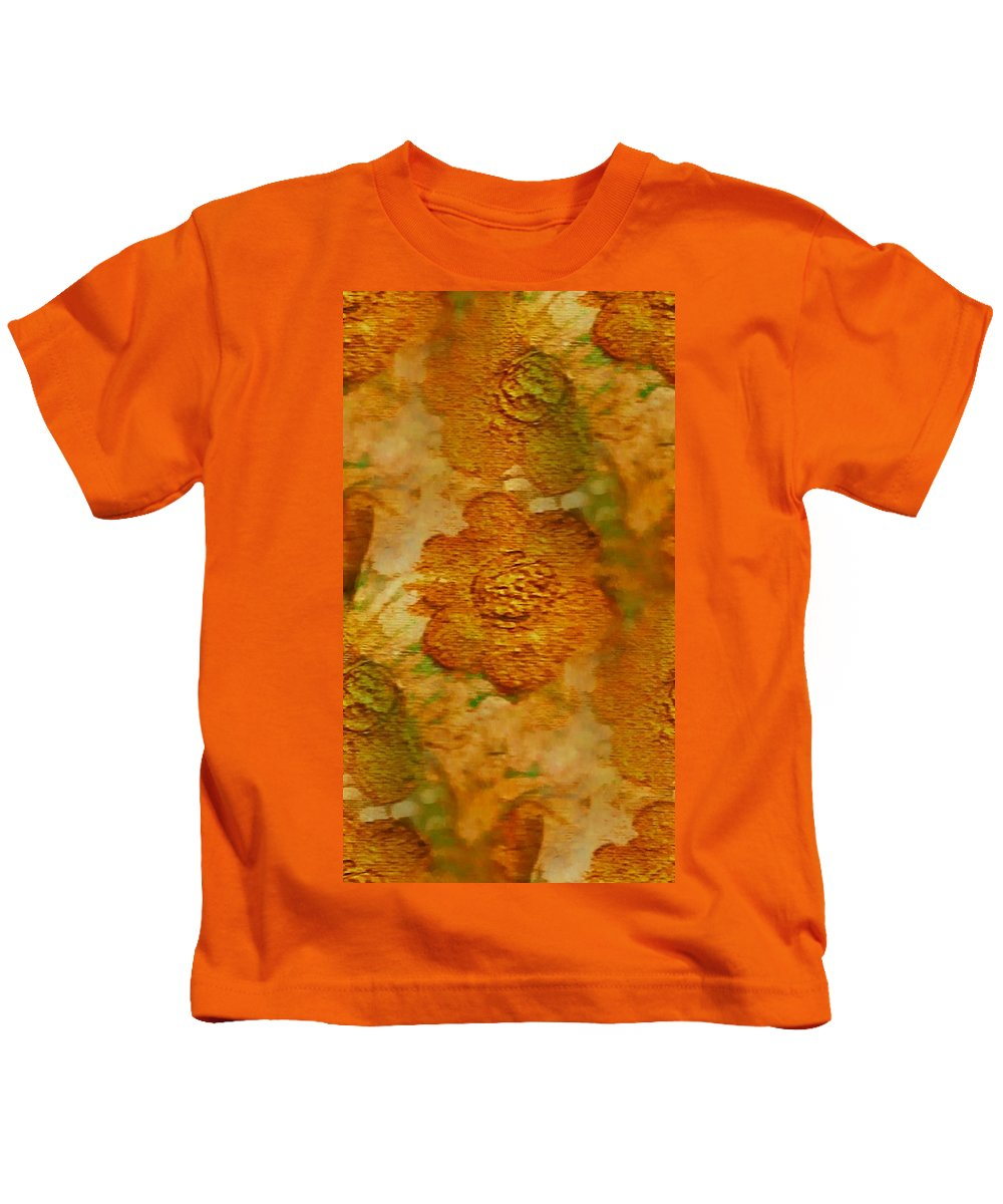 Abstract Kids T-Shirt featuring the painting Acryl Painting Goldflowers by Pepita Selles