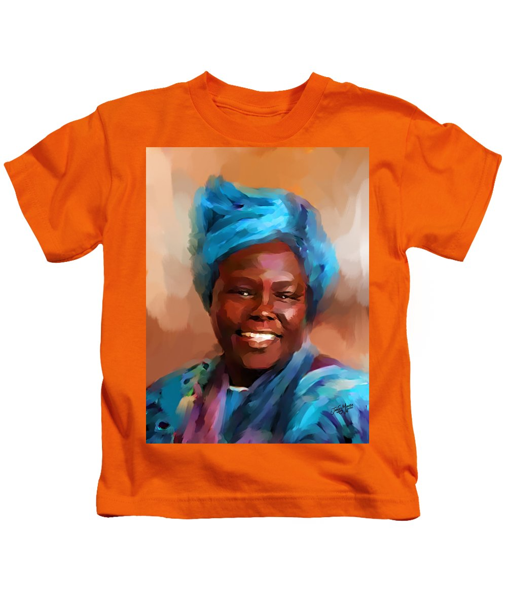 African Kids T-Shirt featuring the painting African Woman by James Mingo