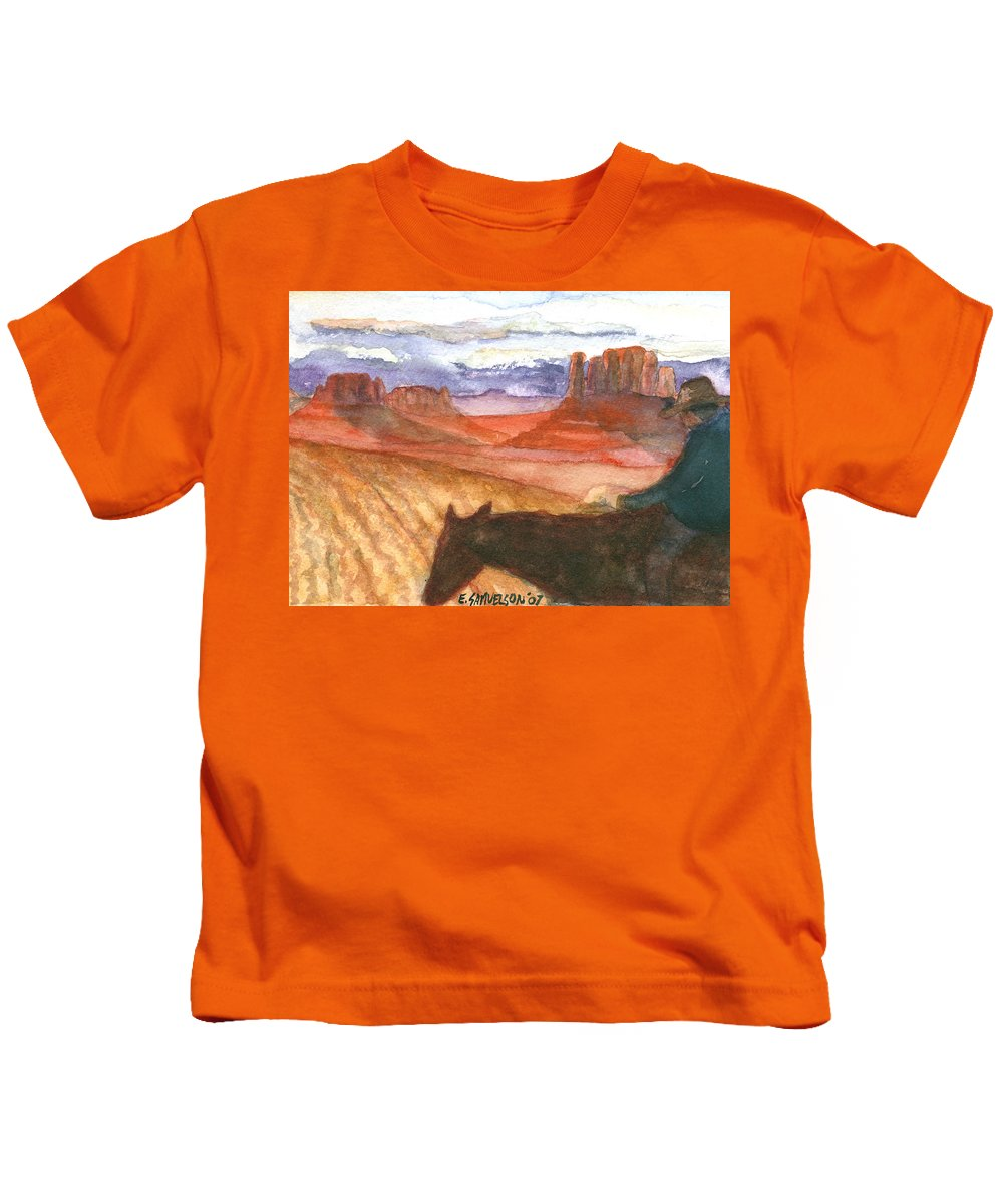 Navajo Kids T-Shirt featuring the painting Almost Home by Eric Samuelson