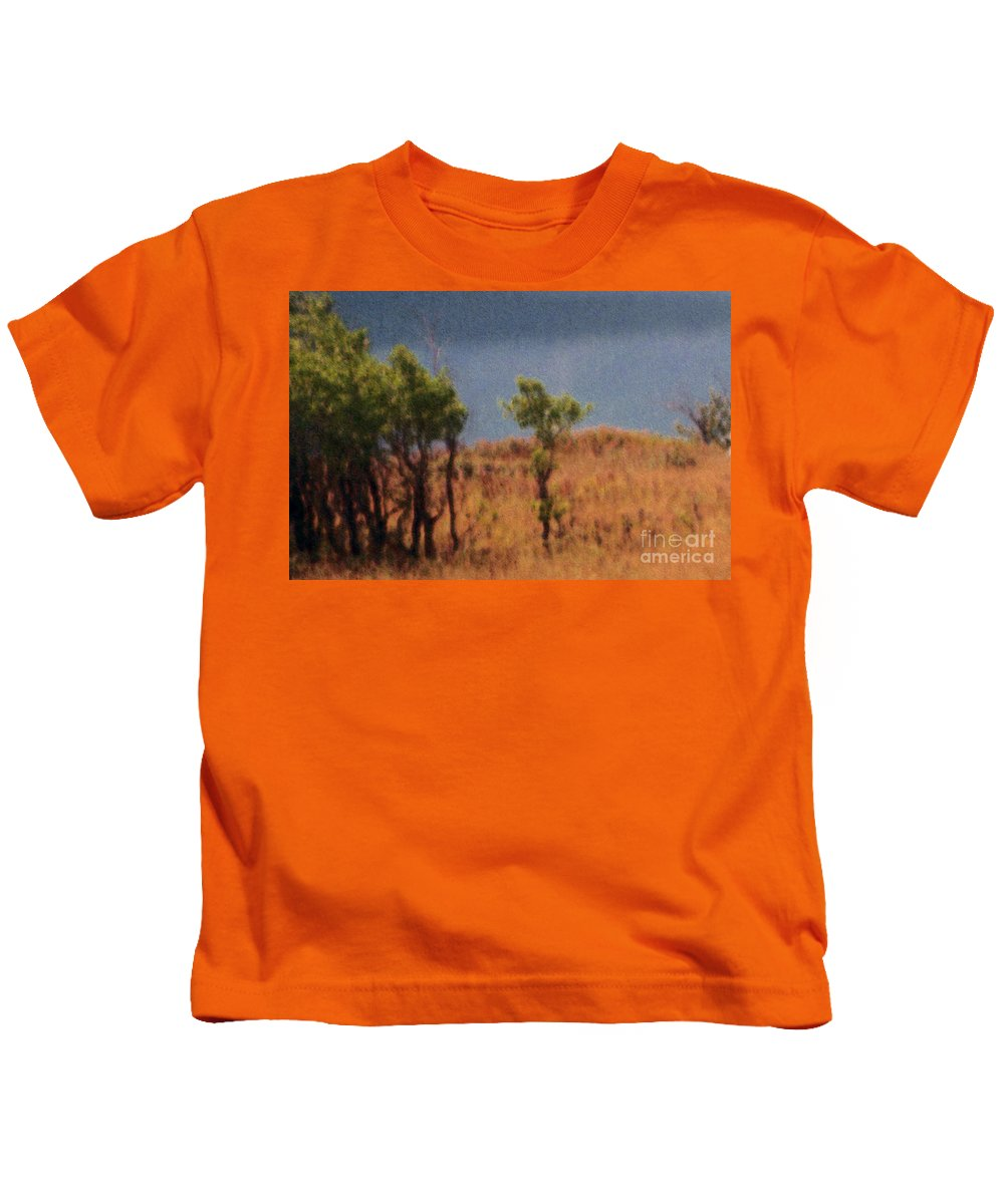 Field Kids T-Shirt featuring the digital art Along The Lake by Richard Rizzo