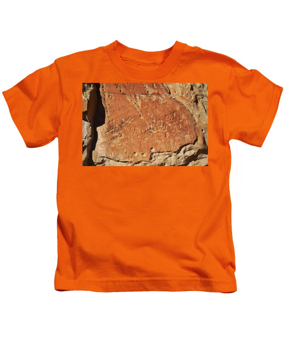 New Mexico Kids T-Shirt featuring the photograph Ancient Writings by Sean Jungo