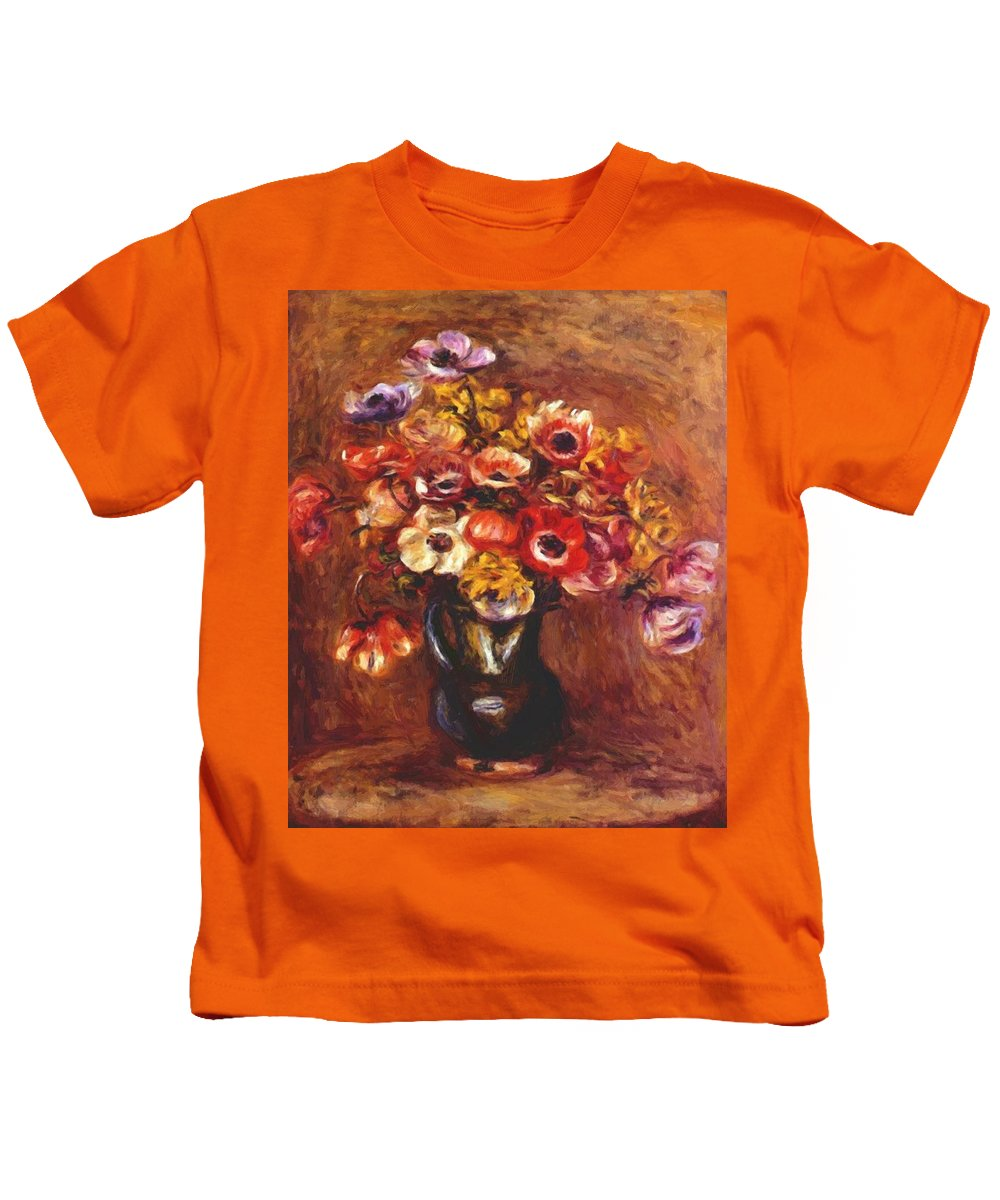 Anemones Kids T-Shirt featuring the painting Anemones 1898 by Renoir PierreAuguste
