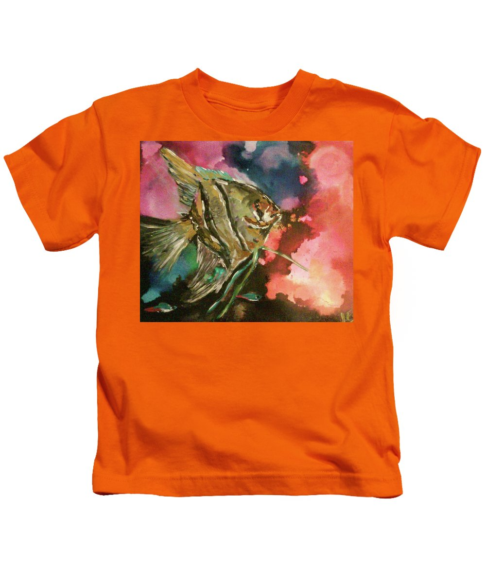 Fish Angel Water Ocean Tropical Kids T-Shirt featuring the painting Angel Of The Sea by Jen Saemann