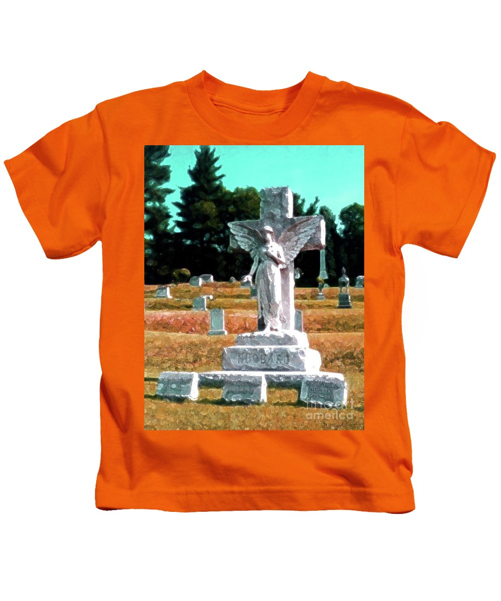 Grave Kids T-Shirt featuring the mixed media Angel Watching Over by Desiree Paquette