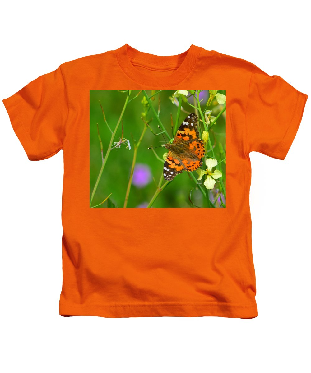 Butterfly Kids T-Shirt featuring the photograph Antennas Up by Alan C Wade