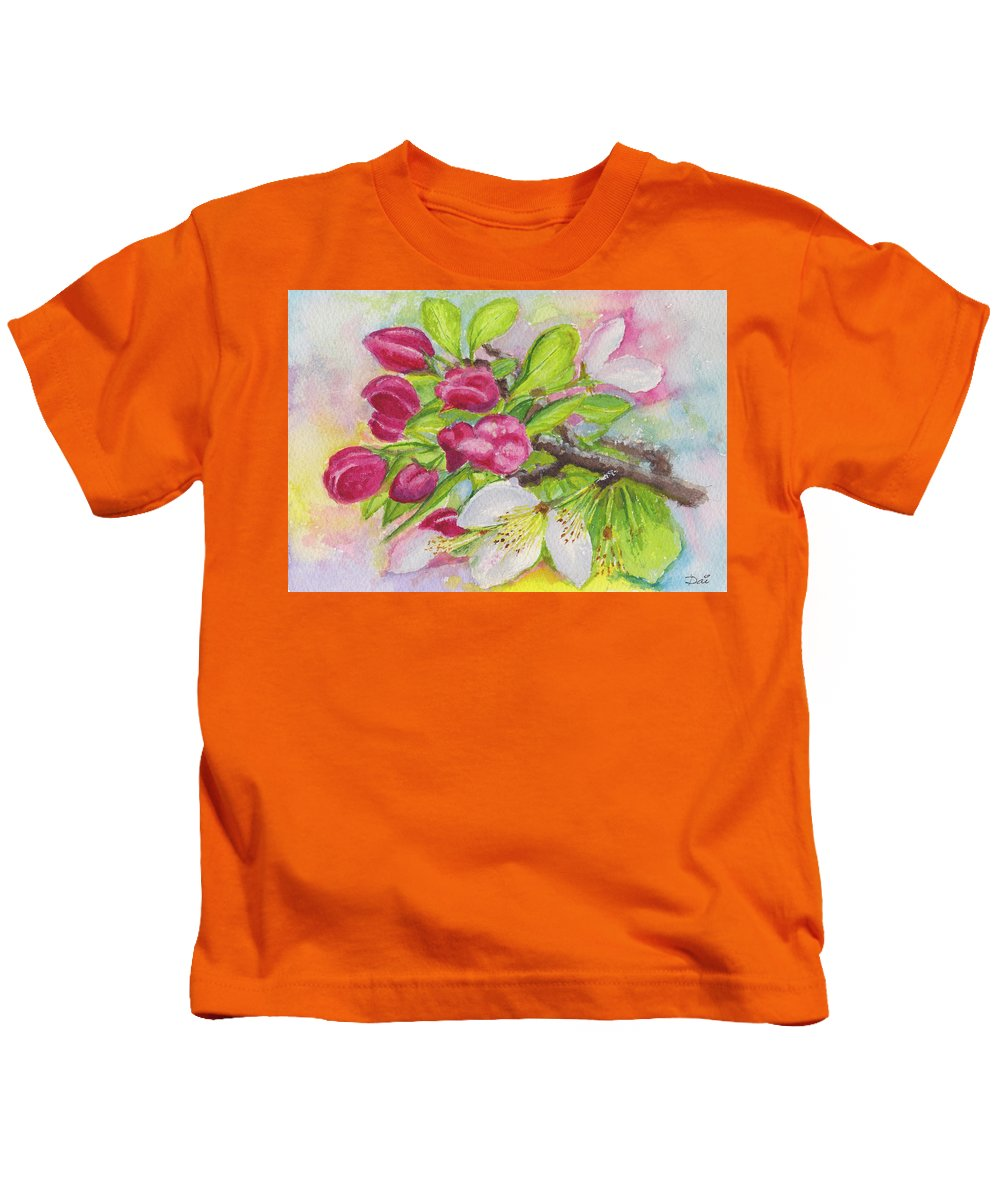 Blossoms Kids T-Shirt featuring the painting Apple Blossom Buds On A Greeting Card by Dai Wynn