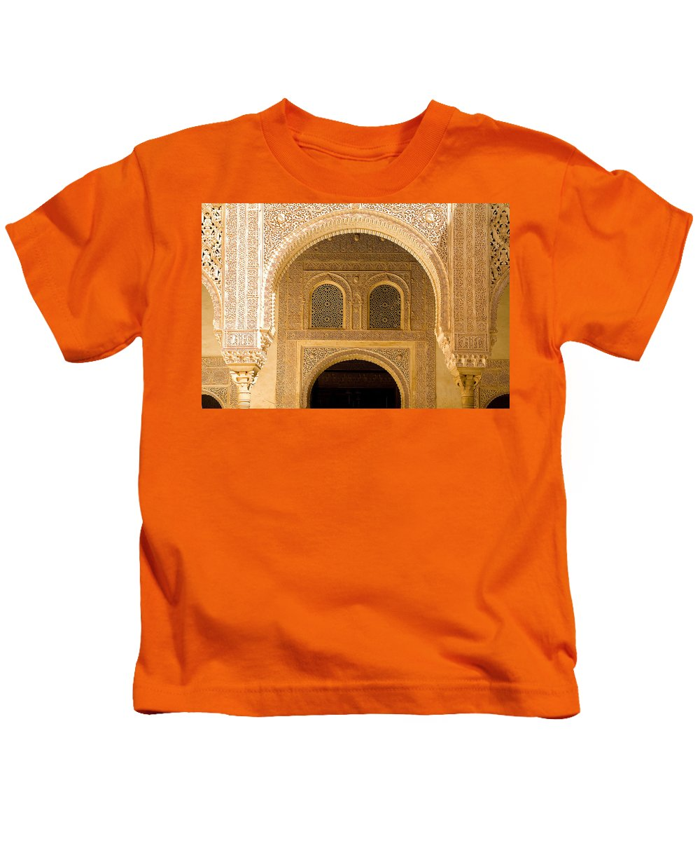 Cuarto Kids T-Shirt featuring the photograph Arabesque Ornamental Designs At The Casa Real In The Nasrid Palaces At The Alhambra by Mal Bray