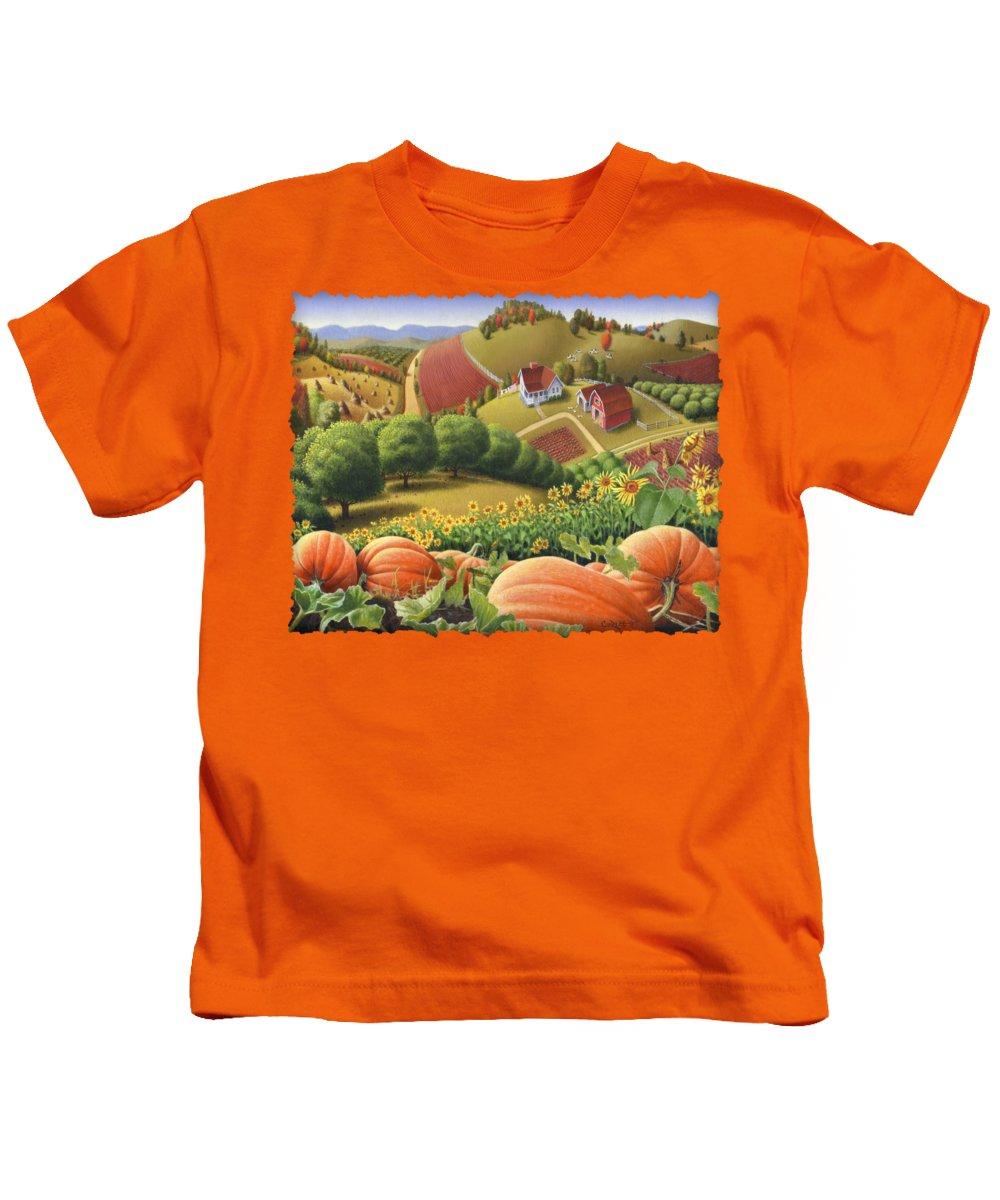 Pumpkin Kids T-Shirt featuring the painting Farm Landscape - Autumn Rural Country Pumpkins Folk Art - Appalachian Americana - Fall Pumpkin Patch by Walt Curlee