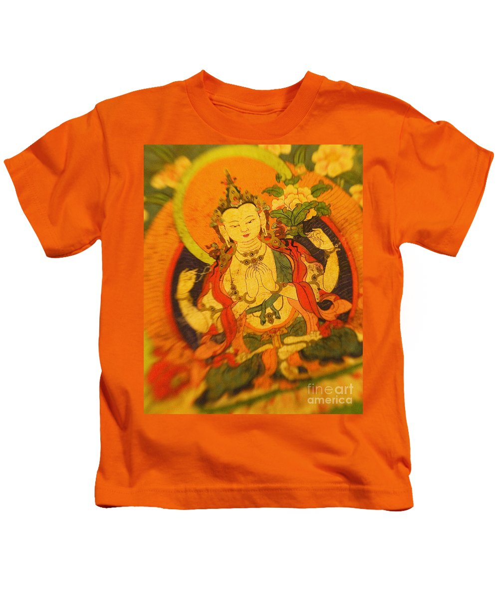Adorn Kids T-Shirt featuring the photograph Asian Art Textile by Ron Dahlquist - Printscapes