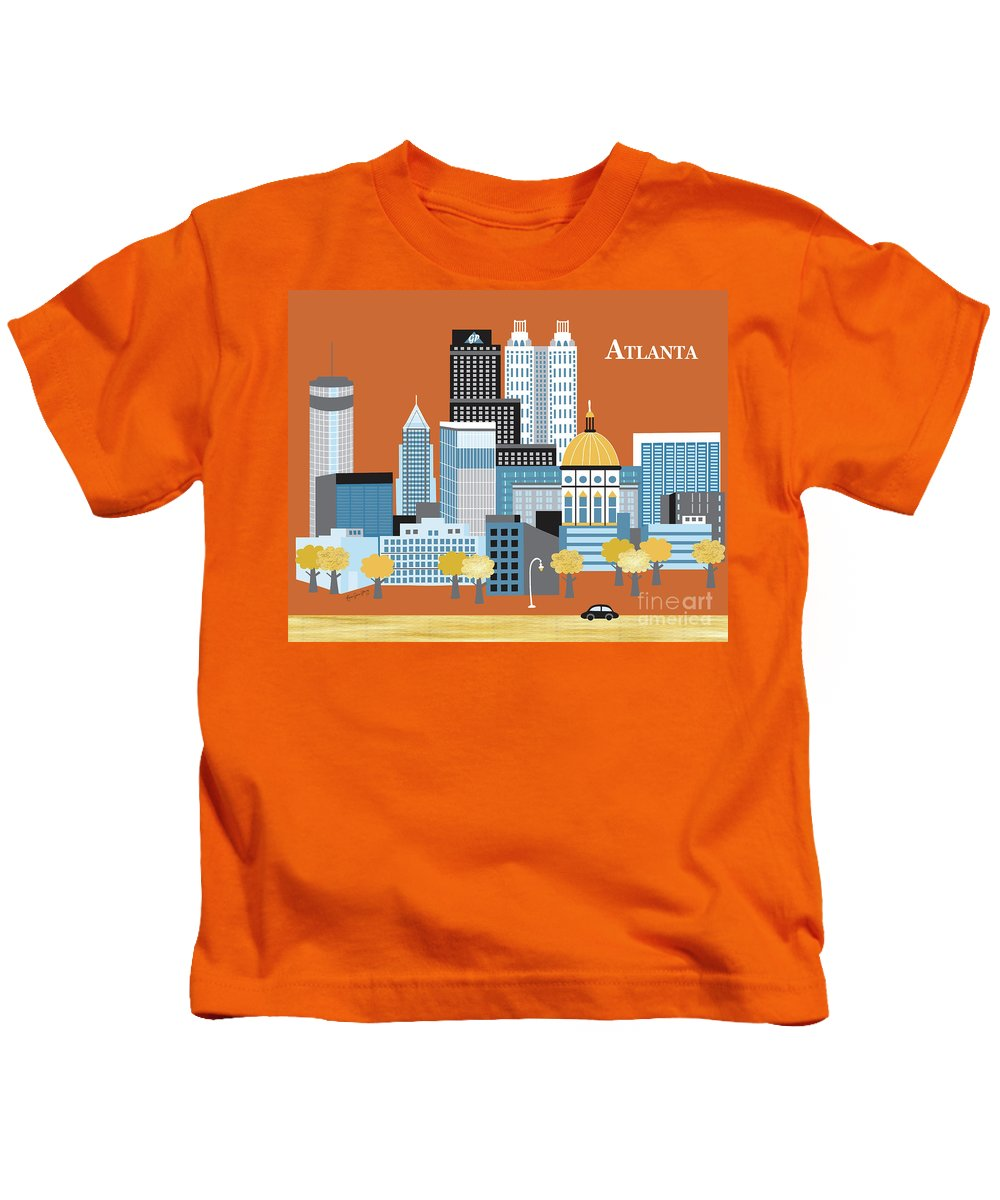 Atlanta Kids T-Shirt featuring the digital art Atlanta Georgia Horizontal Skyline by Karen Young