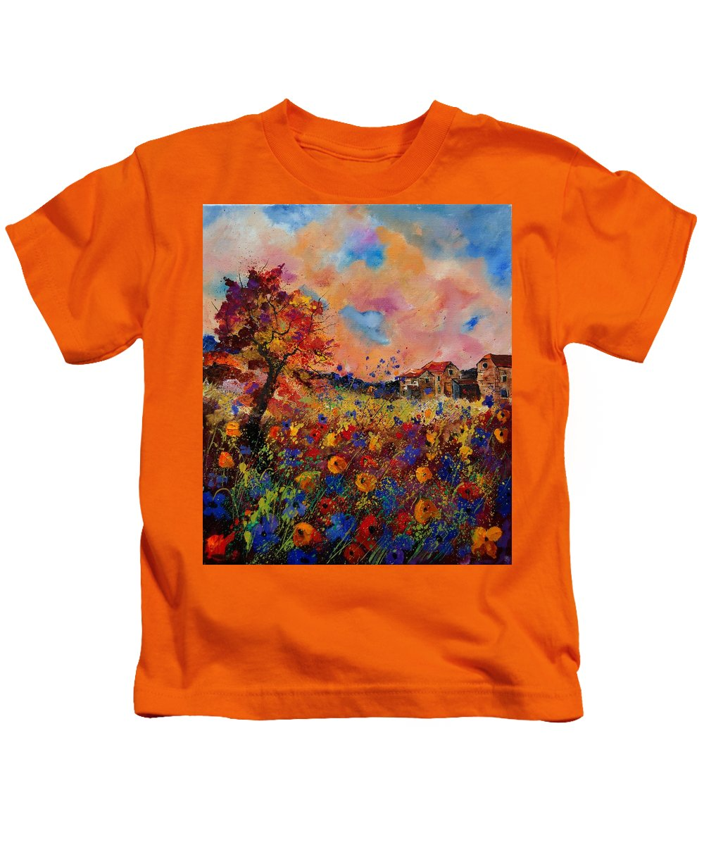 Poppies Kids T-Shirt featuring the painting Autumn Colors by Pol Ledent