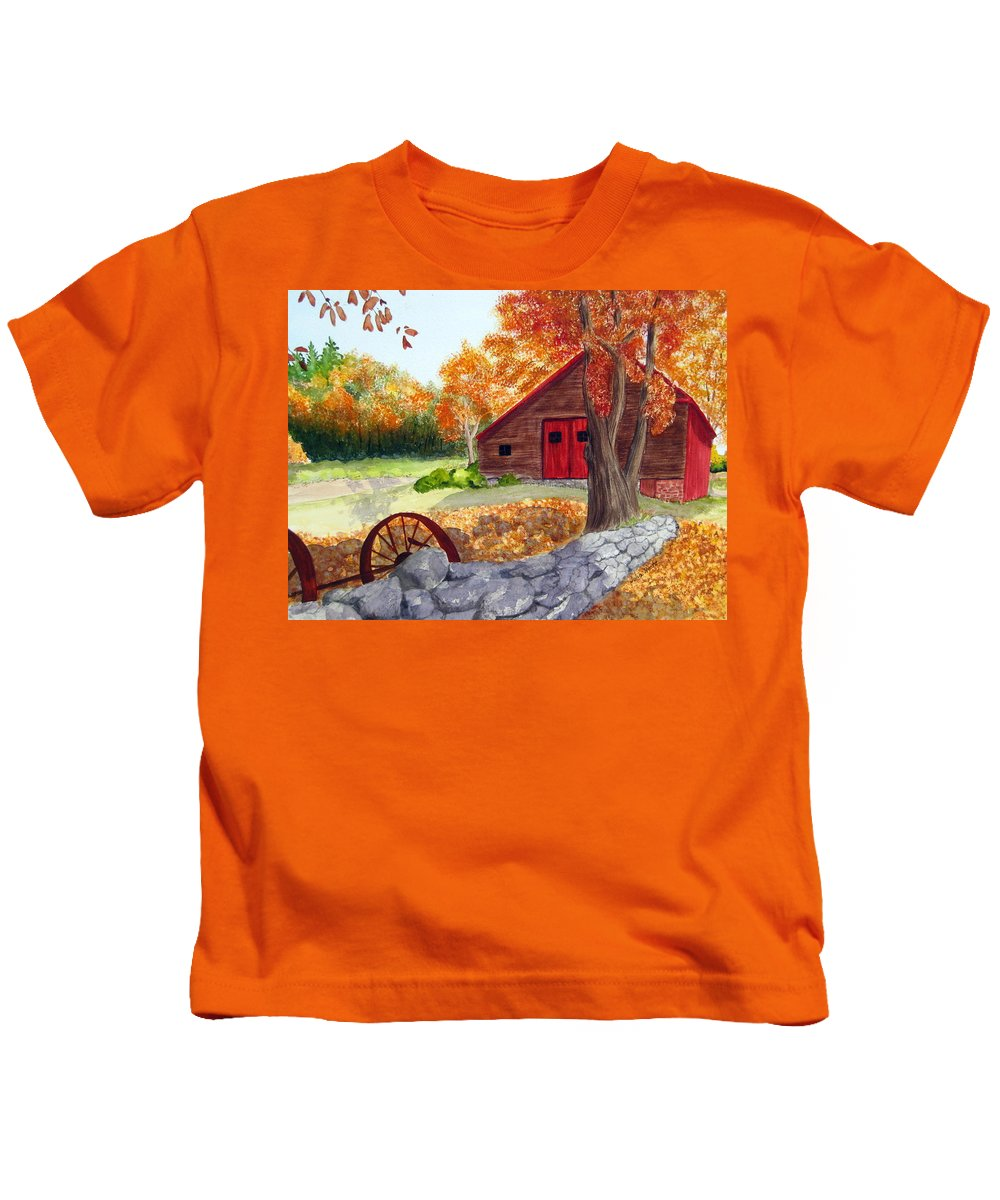 Barn Kids T-Shirt featuring the painting Autumn Day by Julia RIETZ