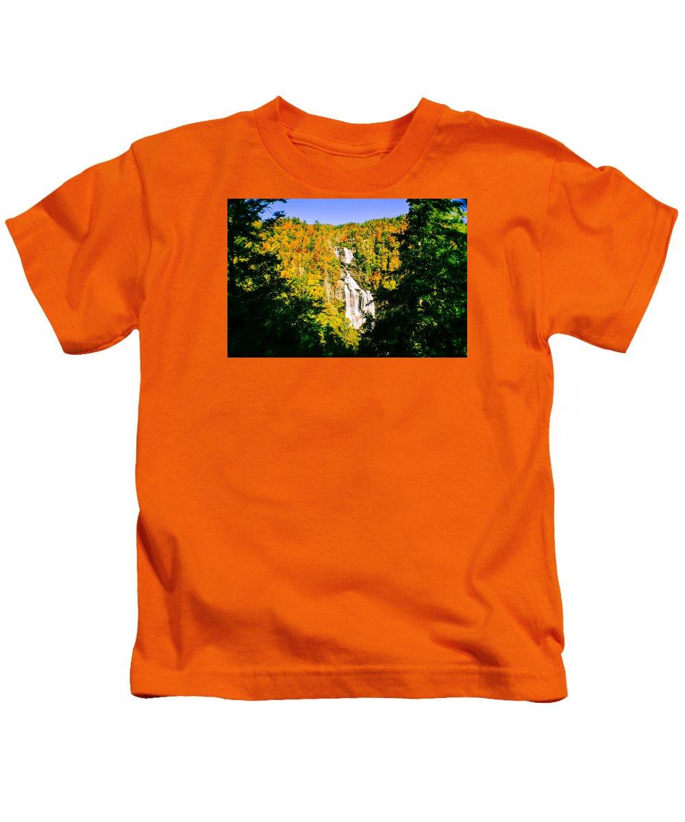 White Water Falls Kids T-Shirt featuring the photograph Autumn Falls by Tom Zukauskas