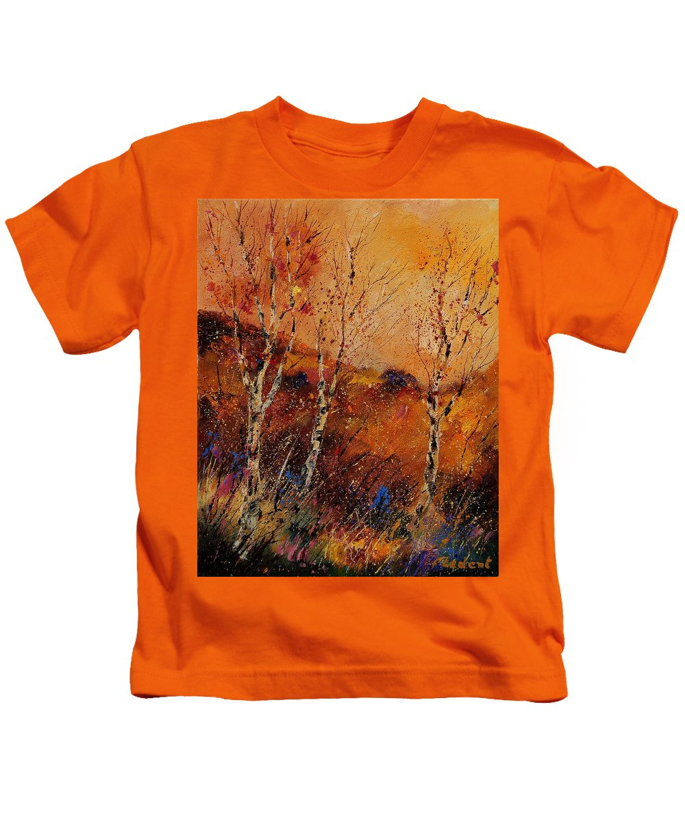 Tree Kids T-Shirt featuring the painting Autumn Landscape 45 by Pol Ledent