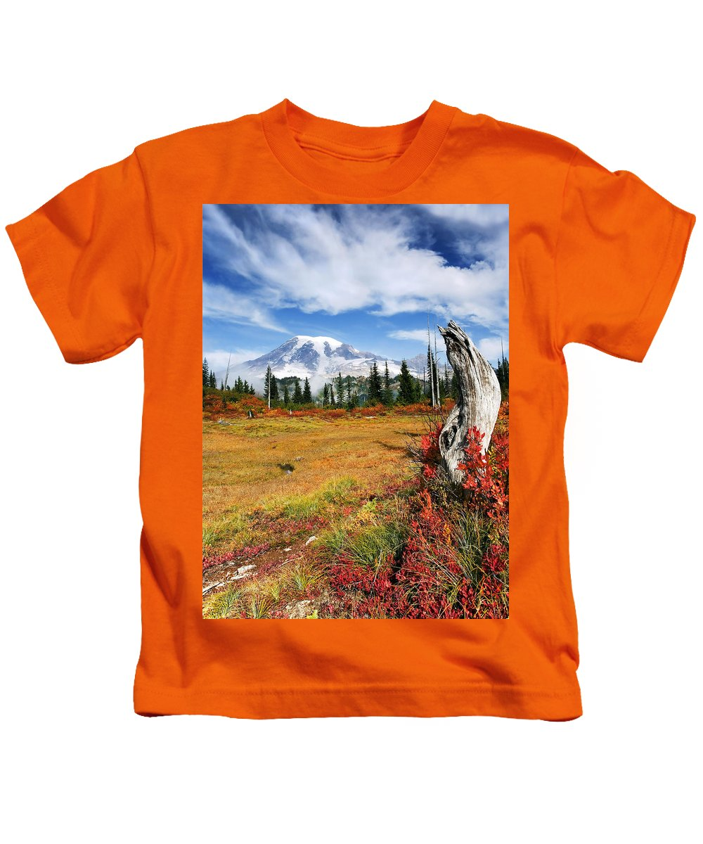 Rainier Kids T-Shirt featuring the photograph Autumn Majesty by Mike Dawson