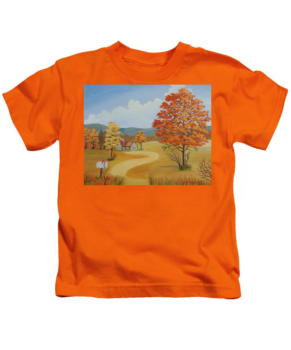 Landscape Kids T-Shirt featuring the painting Autumn Season by Ruth Housley