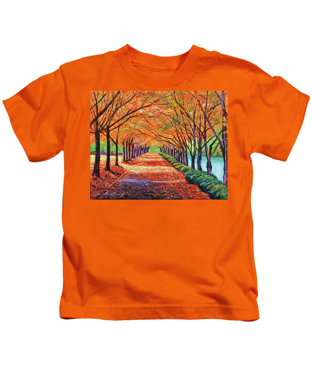 Autumn Kids T-Shirt featuring the painting Autumn Tree Lane by David Lloyd Glover