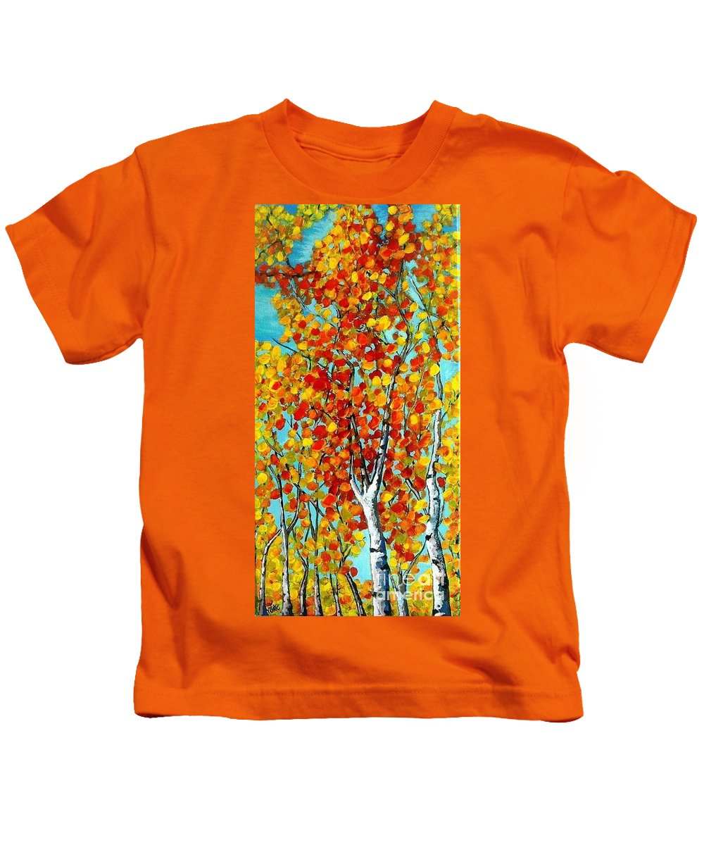 Landscape Kids T-Shirt featuring the painting Autumn Trees by Vesna Antic