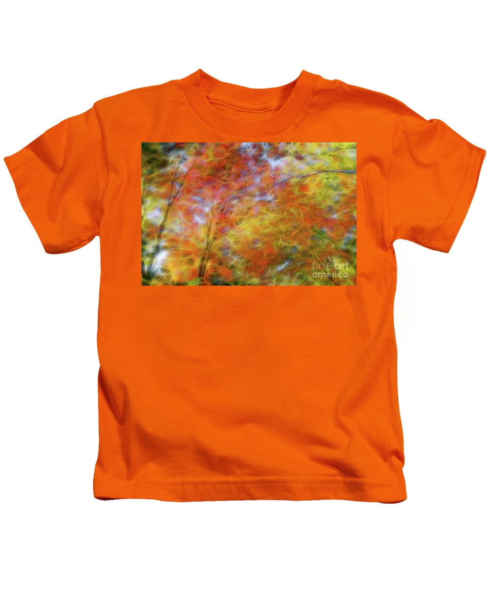 Autumn Kids T-Shirt featuring the photograph Autumn's Fire by Carolyn Truchon