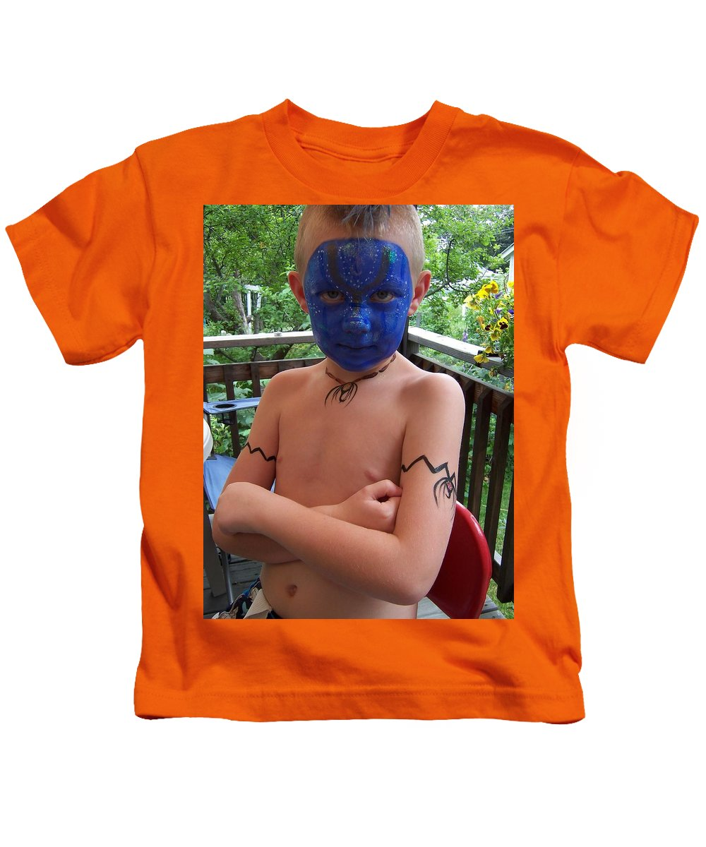 Face Paint Kids T-Shirt featuring the painting Avatar Fun by Deahn   Benware