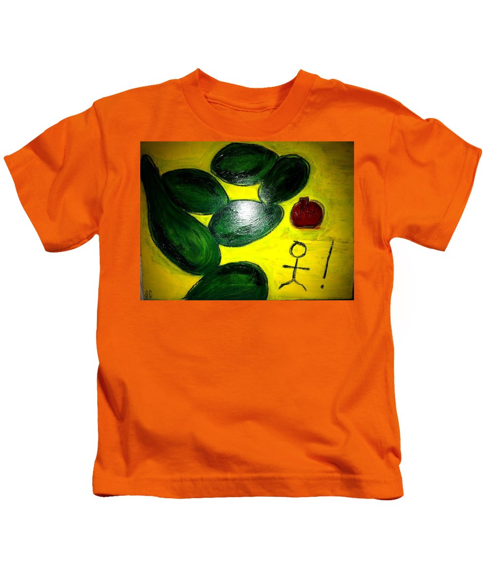 Avocado Kids T-Shirt featuring the painting Avocado Man by Solenn Carriou