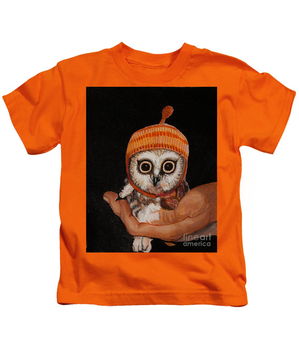 Cherry Painting Kids T-Shirt featuring the painting Baby Owl by Kaashi Art