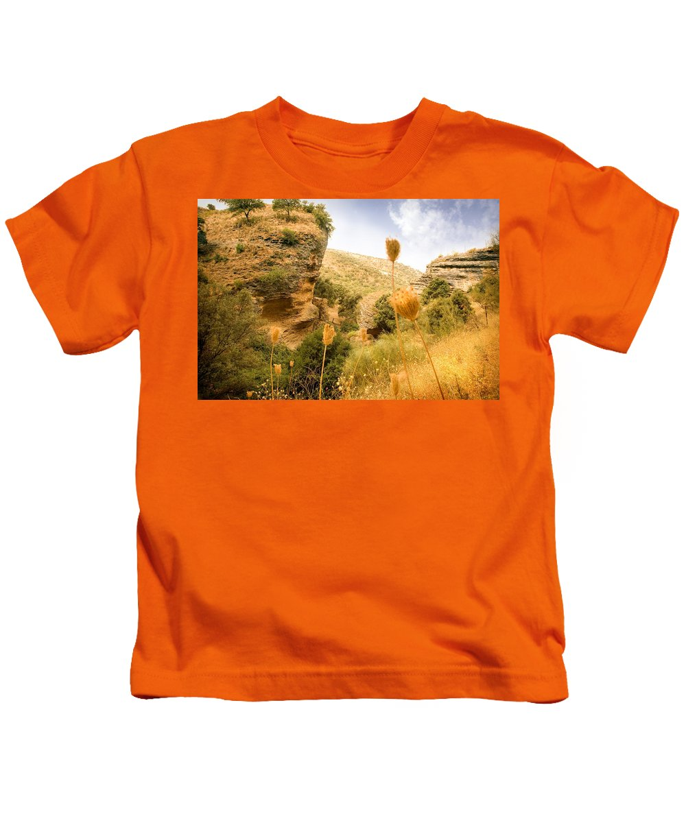 Spain Kids T-Shirt featuring the photograph Bandit Country Near The Edge Of The Fan In Ronda Area Andalucia Spain by Mal Bray