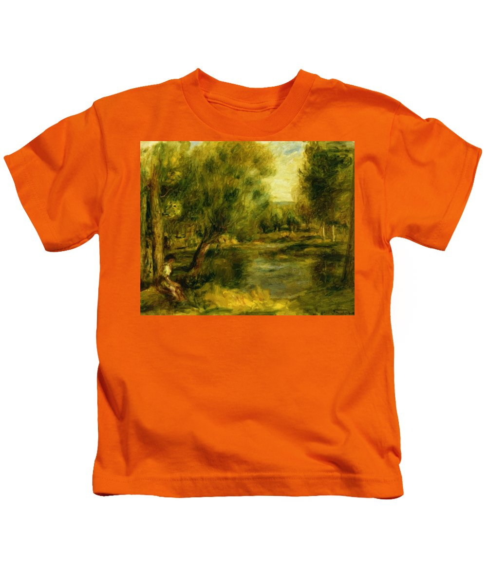 Banks Kids T-Shirt featuring the painting Banks Of The River by Renoir PierreAuguste