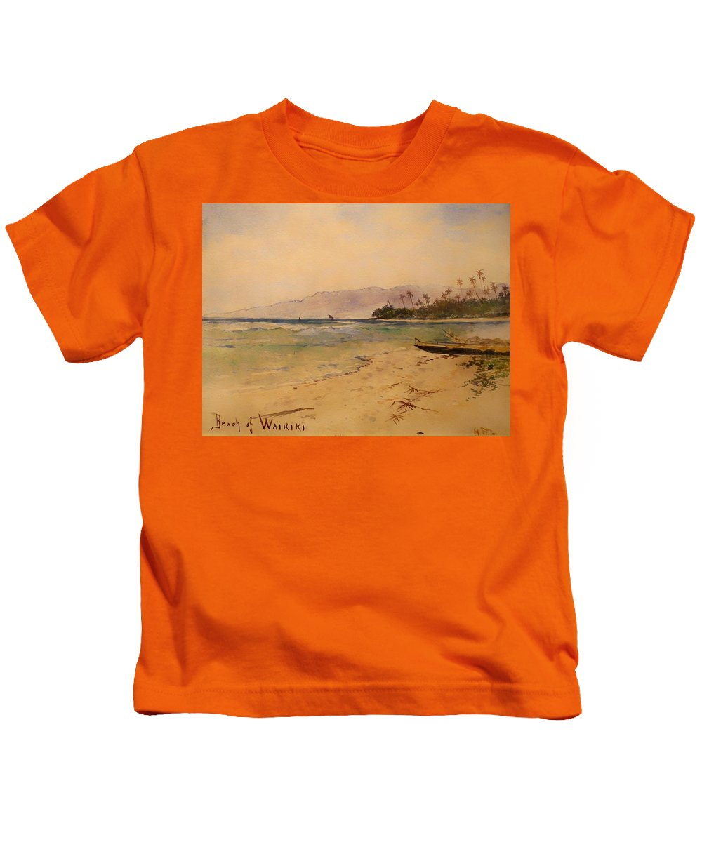 Painting Kids T-Shirt featuring the painting Beach Of Waikiki by Mountain Dreams