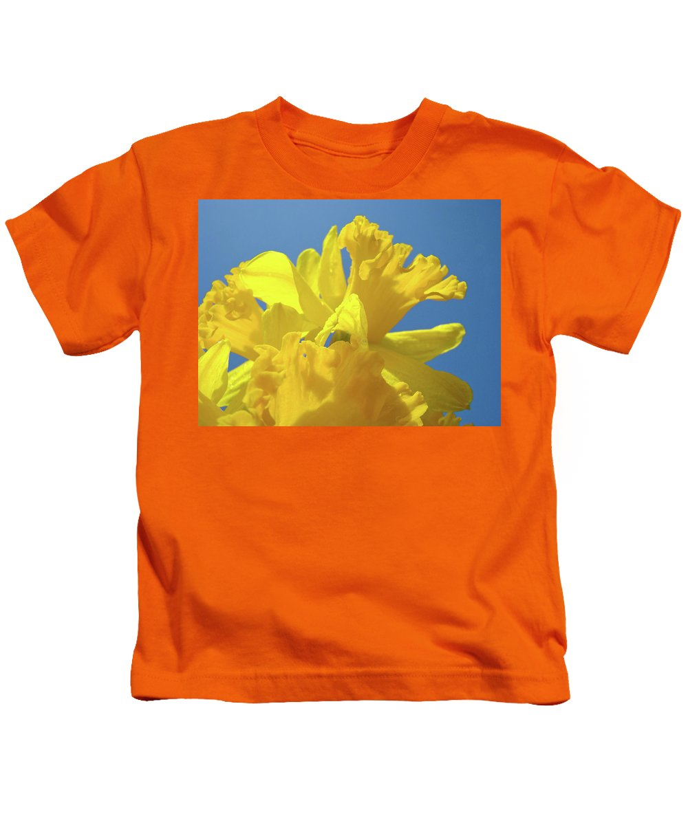 Nature Kids T-Shirt featuring the photograph Beautiful Spring Daffodil Bouquet Flowers Blue Sky Art Prints Baslee Troutman by Baslee Troutman